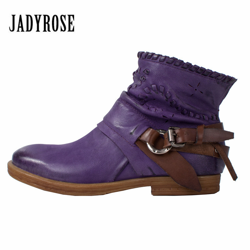 Jady Rose Fashion Purple Autumn Winter Women Ankle Boots Genuine Leather Flat Boots Platform Rubber Shoes Woman Martin Boot