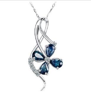 2017 new arrival 4 leaf plant blue crystal & 925 sterling silver ladies`pendant necklaces cheap jewelry drop shipping women gift