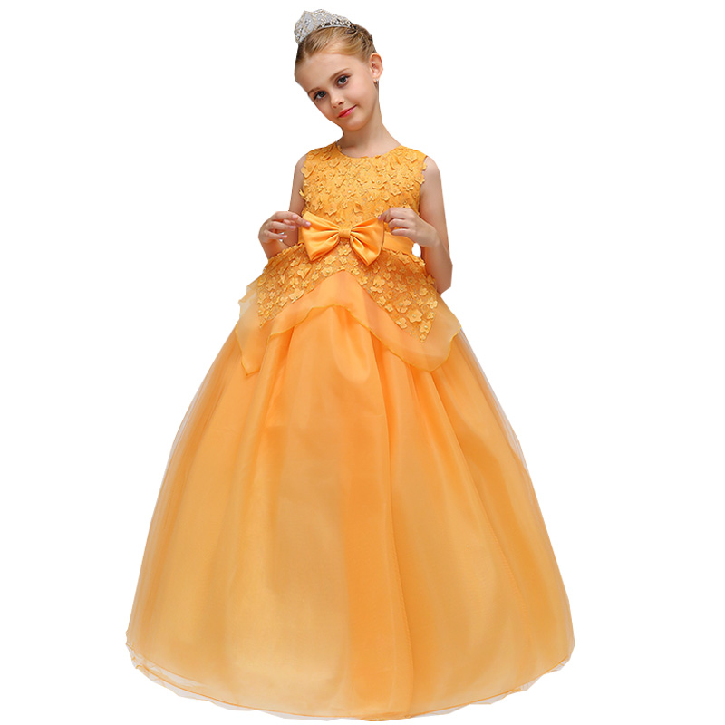 Wholesale Appliques Princess Formal Boutiques Evening Prom Long   Dress   With Bow Tiered Elegant   Flower     Girls     Dress   LP-70