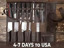 Cuero genuino 100% hecho a mano cuchillo rollo Chef cuchillo bolsa 5 ranuras para cuchillos u otras herramientas amplia gama de colores y accesorios