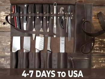 Genuine leather 100 % handmade Knife roll Chef knife bag 5 slots for knives or other tools  Wide range of colours and fittings
