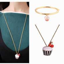 nieuwe frisse mooie mooie charmante emaille glazuur cupcake ketting armband sieraden set