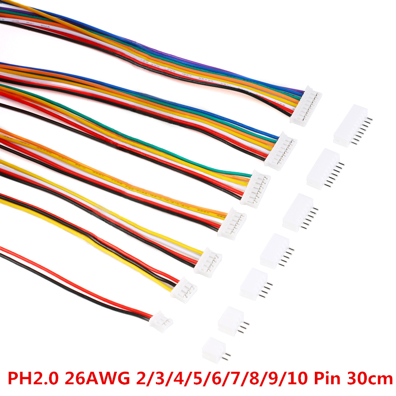 20PCS=10Sets Micro Mini JST 2.0 PH Connector Male Female 2/3/4/<font><b>5</b></font>/6/7/8/9/10-<font><b>Pin</b></font> <font><b>Plug</b></font> With Wires Cables <font><b>Socket</b></font> 300MM 26AWG New image