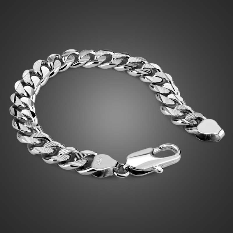 100% 925 sterling silver bracelet Jewelry Pure silver Curb Cuban Link Chain Hip hop bracelet 8mm/10mm 20cm Mens Bracelet 8mm solid pure sterling silver 925 mens chain bracelet simple cool style thai silver mens jewelry polished link chain free box