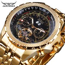 Jaragar Mens Watch Mechanical Golden Black Tourbillon Date Business Fashion Steel Band Sport Watches Automatic Self-Wind Relogio