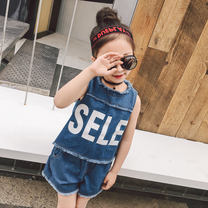 Childrens clothing 2018 new girls summer denim clothes sets kids letter personality suits baby child casual sports set 3-7 yrs