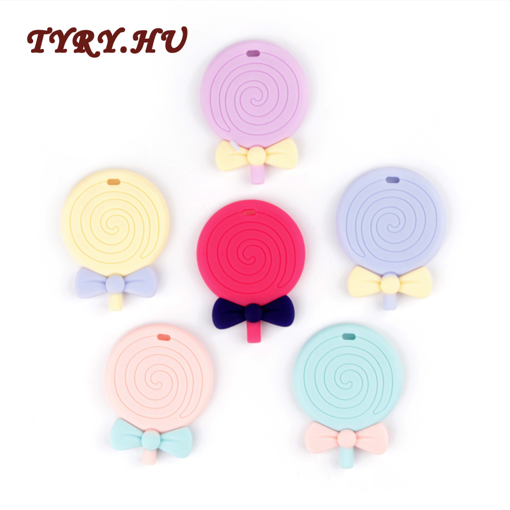 TYRY.HU Lollipop Teether Silicone For Baby Nursing Baby Teethers Chew Food Grade Silicone Teether Beads Toys Pendant 1pcs