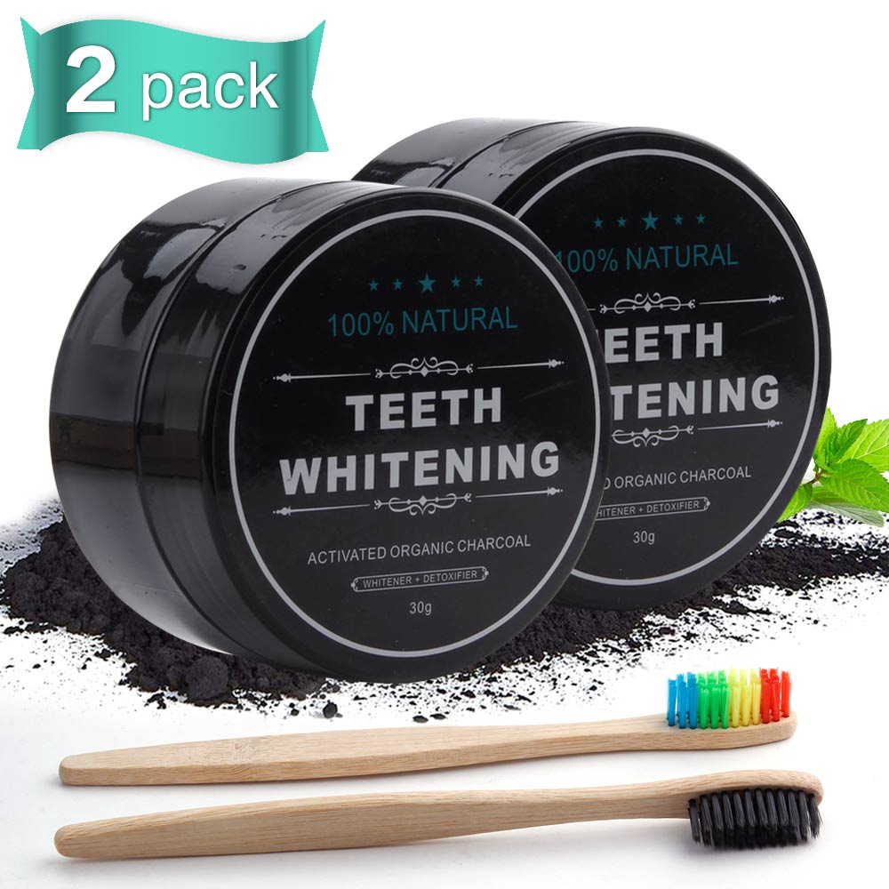 Eco Friendly Teeth Whitening Dental Charcoal Powder Oral Hygiene Cleaning Bamboo Wooden Toothbrush Teeth Whitener White Tooth 30