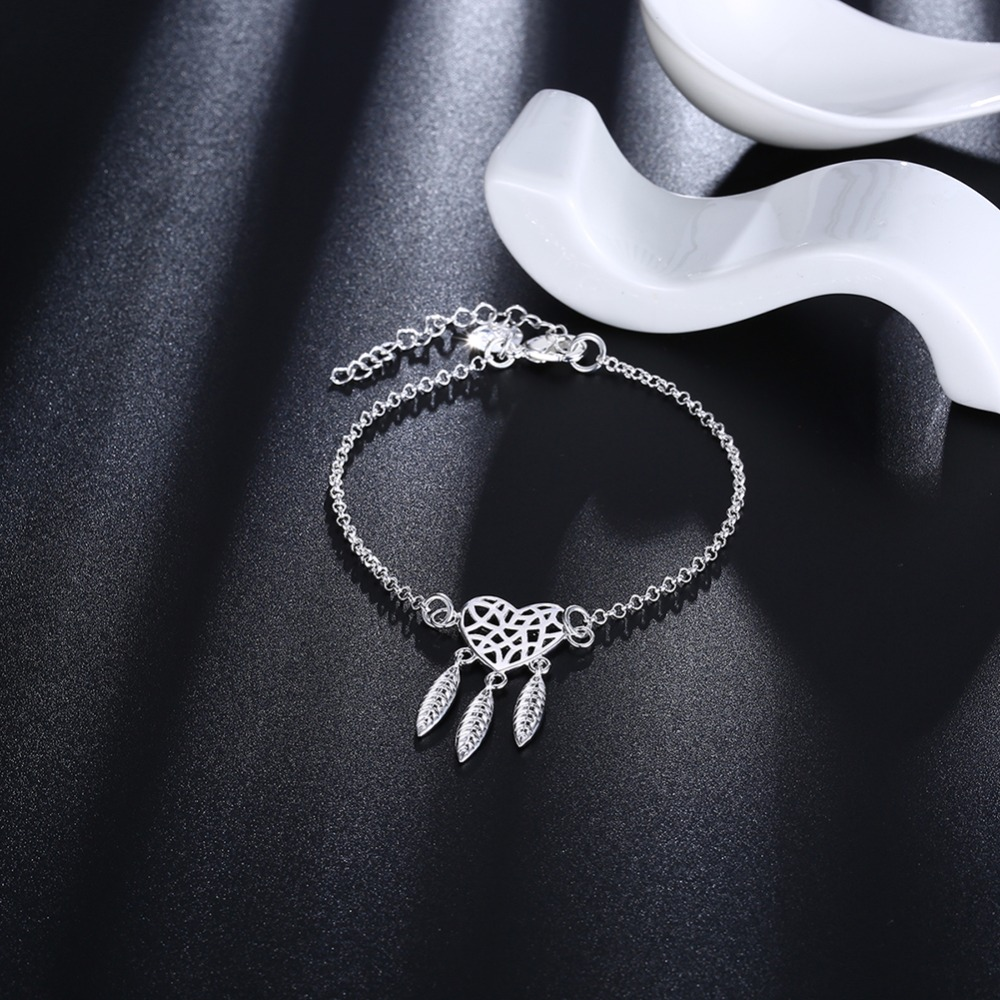 925 Silver (male) female baby mother bracelet fashion hollow hollow hanging leaf bracelet jewelry wholesale H620