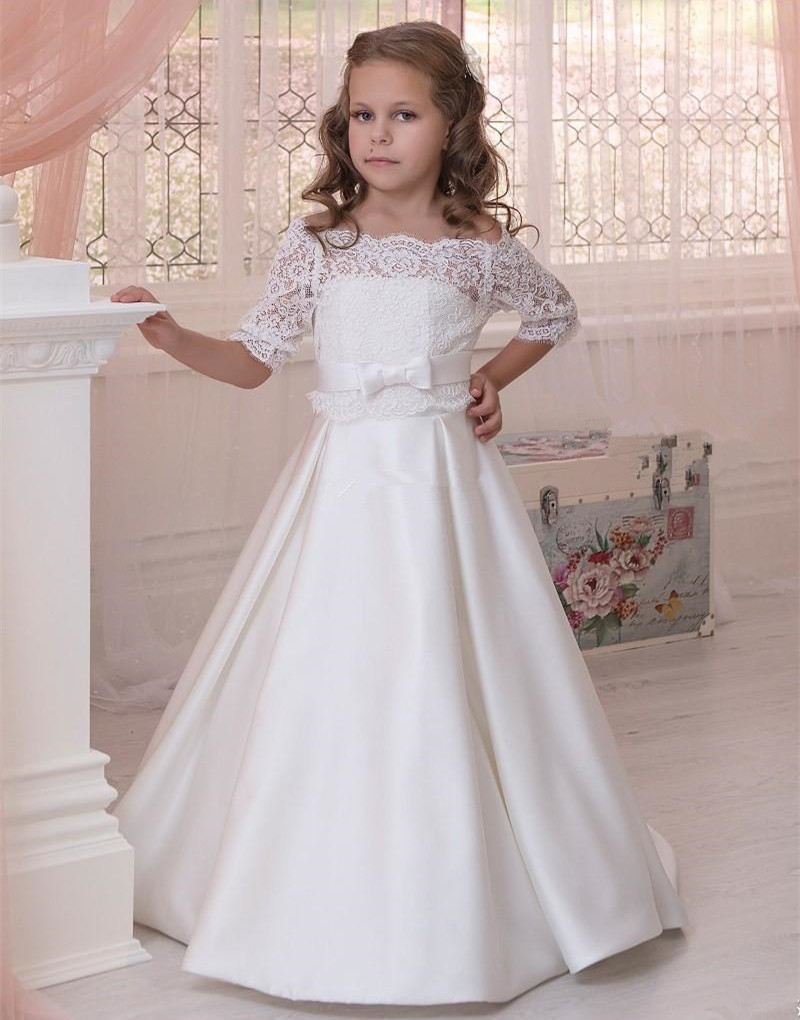 все цены на Ivory A-line satin two pieces flower girl dresses off the shoulder half sleeves junior kids first communion gown with bolero