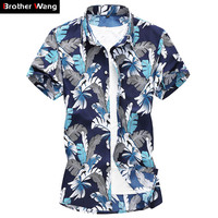 2019 Summer New Men Hawaiian Short sleeved Shirt Fashion Casual Floral Large Size Shirt Male Brand Clothes 4XL 5XL 6XL