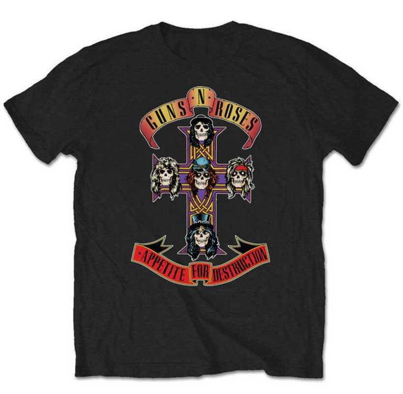 Guns N Roses Appetite For Destruction Mens Black Short Sleeve T Shirts New Funny Mens/Womens Black Design Cotton Shirt S-3XL