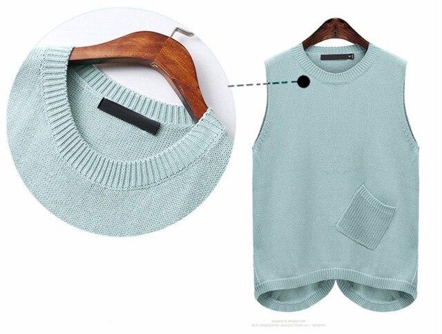 Large Size XL-5XL Loose Knit Women's Vest Water Green Color Waistcoat For Women Oblique Plug Pocket Sleeveless Sweater Vest Coat 2