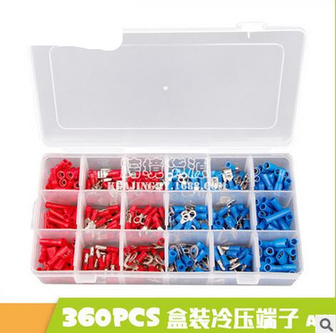 360pcs Electrical Crimp Terminals Insulated Butt Connectors Spade Ring Fork Copper Terminators Set With Storage Box Red Blue 300pcs set assorted insulated electrical wire terminals crimp connectors spade butt 828 promotion