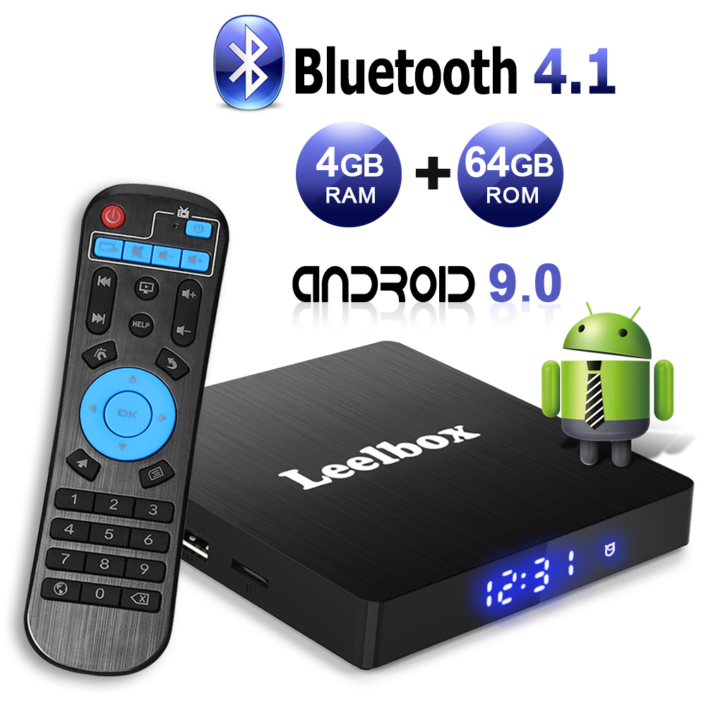 Android TV Box 9.0, 4GB + 64GB Leelbox Q4 max RK3328 Quad Core Smart TV Box prise en charge USB 3.0/BT 4.1/2.4GHz WiFi/3D/4 K/H.265
