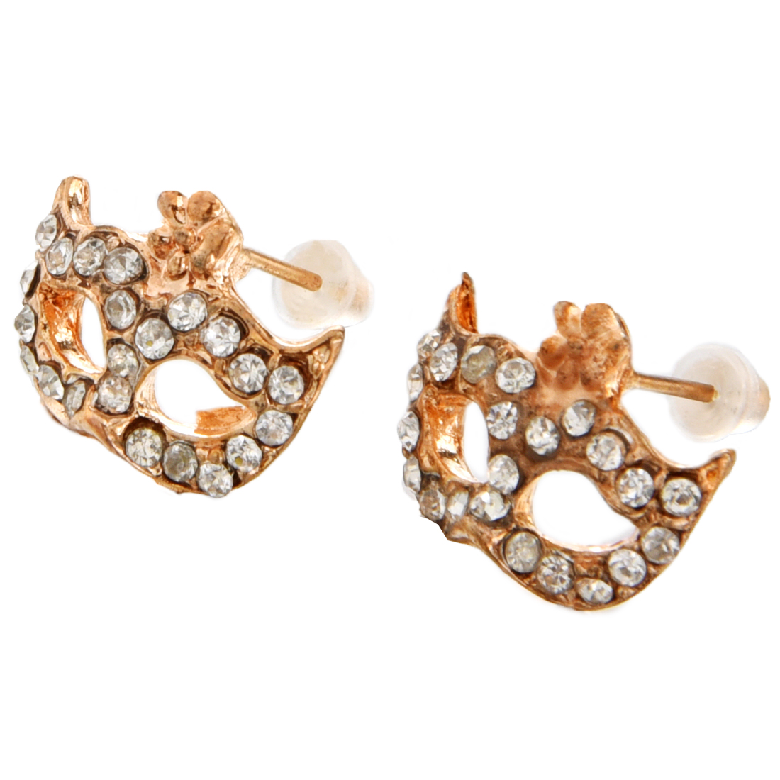 HGHO-1 Pair of Gold Plated Crystal Rhinestone Party Mask Ear Stud