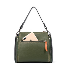 New  2018 fashion first layer leather portable bucket  Korean version of shoulder Messenger  ladies bag недорого