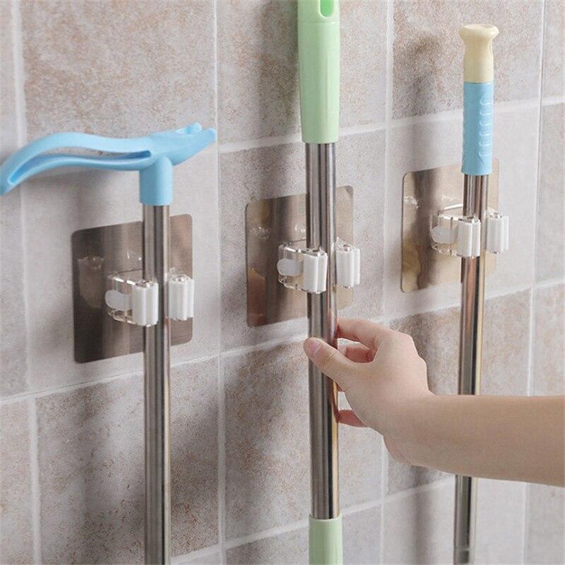 1PC Mop Holder Wall Mounted Broom Holder Kitchen Bathroom Wall Mop Holder Magic Sticker Broom Mop Rack