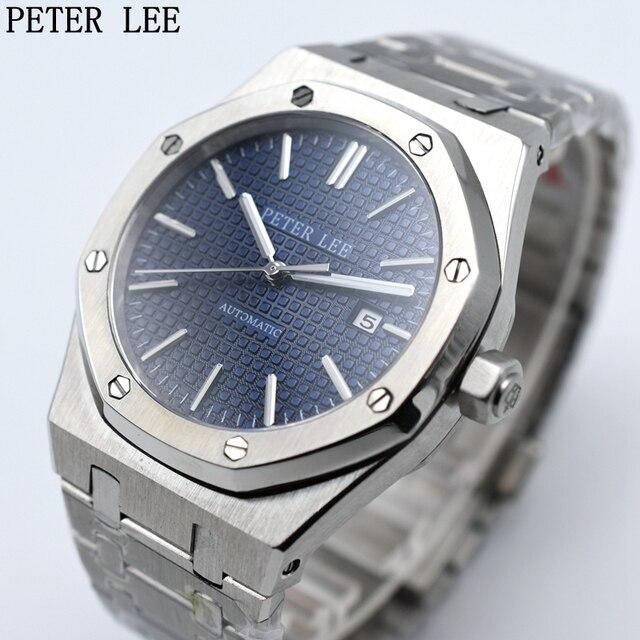 PETER LEE Mens Watches Top Brand Luxury Full Steel Waterproof Automatic Mechanical Men Watch Classic Dial 40 mm Male Clocks Gift