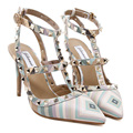 Zapatos Mujer Tacon Womens Shoes Fashion Multi Colored Heels Rivet Pointed Toe High Heels Sexy Slingback Strap Shoes Ladies Pump