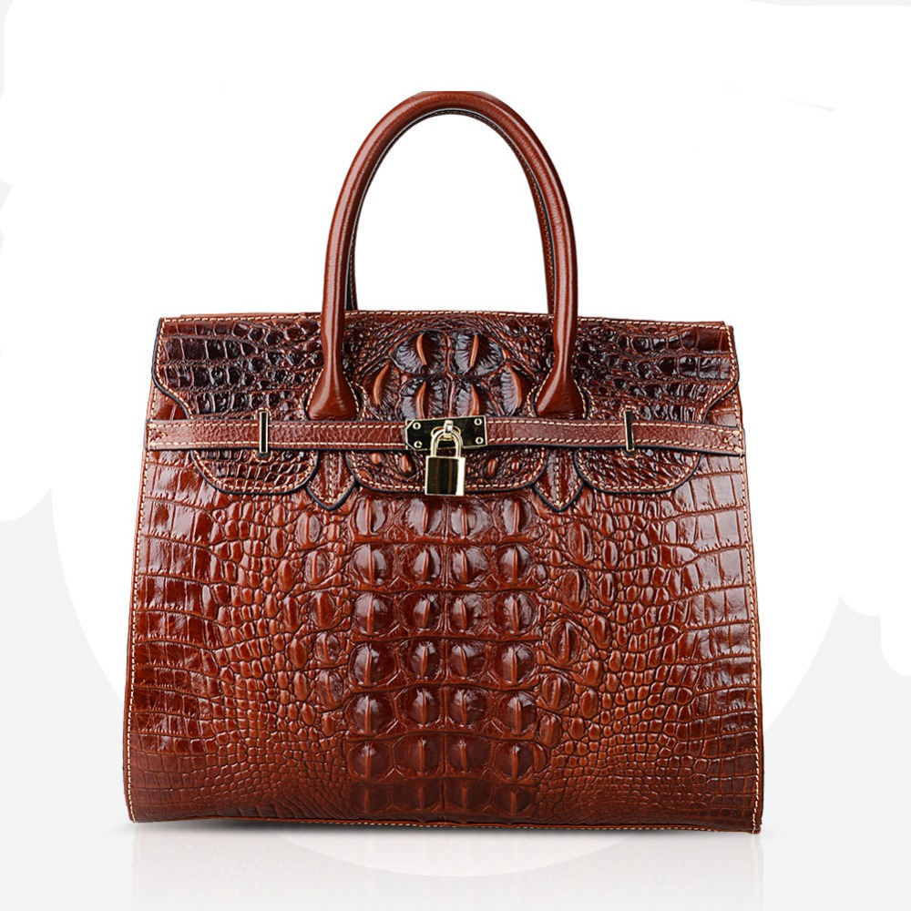 Fashion Crocodile Women Bag\Handbag Genuine Leather Tote Cowhide ladies' Casual Shoulder Bag Messenger Bag Big Bag~16B53 luxury 100% genuine leather women bag handbag retro cowhide ladies shoulder bag messenger bag big capacity tote bag aw rs03