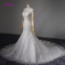 fsuzwel Melice Scoop Neck Mermaid Wedding Dress Long Sleeve