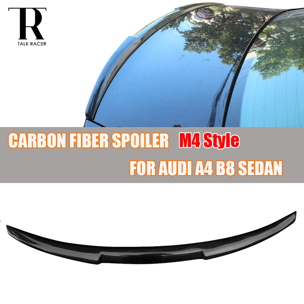For Audi A4 B8 Carbon Rear Lip Wing 2009 - 2012 Auto Racing Car Styling Carbon Fiber Spoiler for A4 B8 Sedan 4 Door carbon fiber mirror cover for 07 09 audi a4 b8