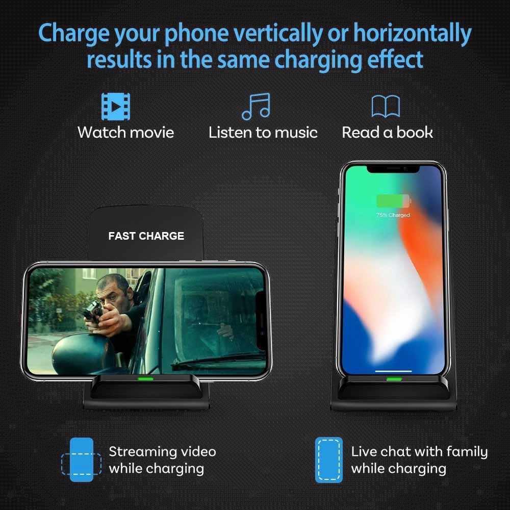 DCAE 10W Qi rápido Qi cargador inalámbrico para iPhone X XR XS MaX 8 Samsung Nota 9 S8 S9 soporte de carga inalámbrico para teléfono Plus S7 S6 Edge