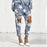 TREND SetteR 2019 Summer Big Hole Jeans for Women With Five pointed Star Ripped Jeans Light Blue Denim Pants Boyfriend Jeans