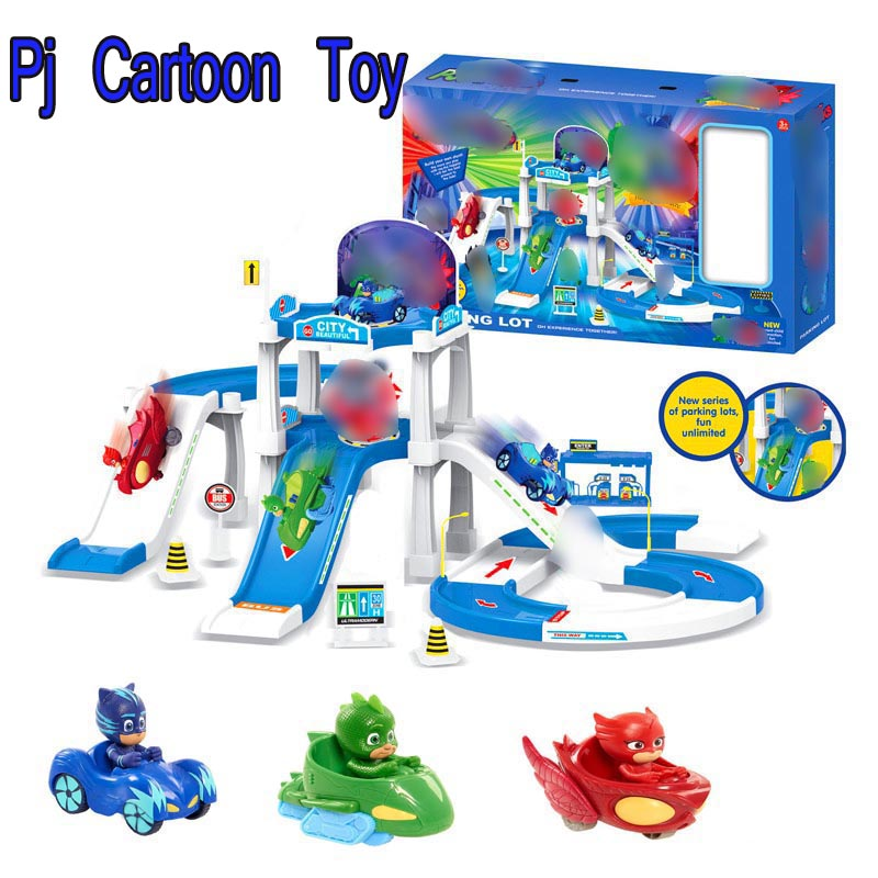 Les Pyjamasques Racing Car&Track Toys Pj Cartoon Connor Greg Amaya 2 Floor Parking Lot Toy Children Birthday Jouet Mask Gift pj cartoon pj masks command center car parking toy lot car characters catboy owlette gekko masked figure toys kids party gift