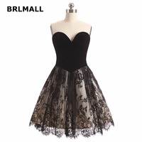 2018 Simple Black Homecoming Dresses A Line Exquisite Lace Mini Plus Size Custom Made Graduation Gowns