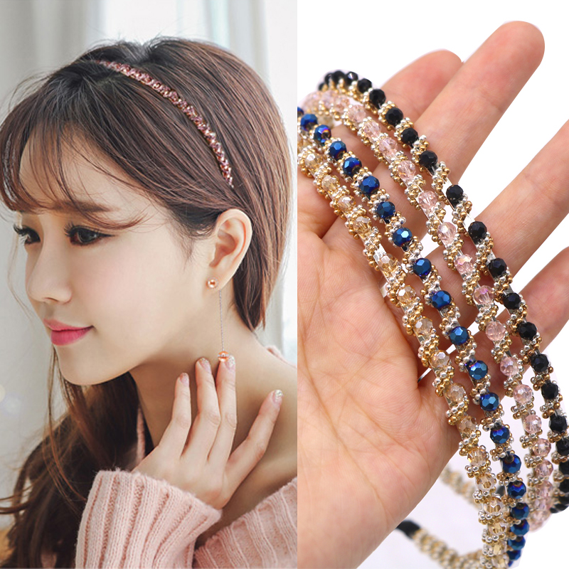 Fashion Women Hair Hoop Ladies Crystal Rhinestone Pearl Hairband Headband Head Piece Hair Band Accessories for Girls   Headwear