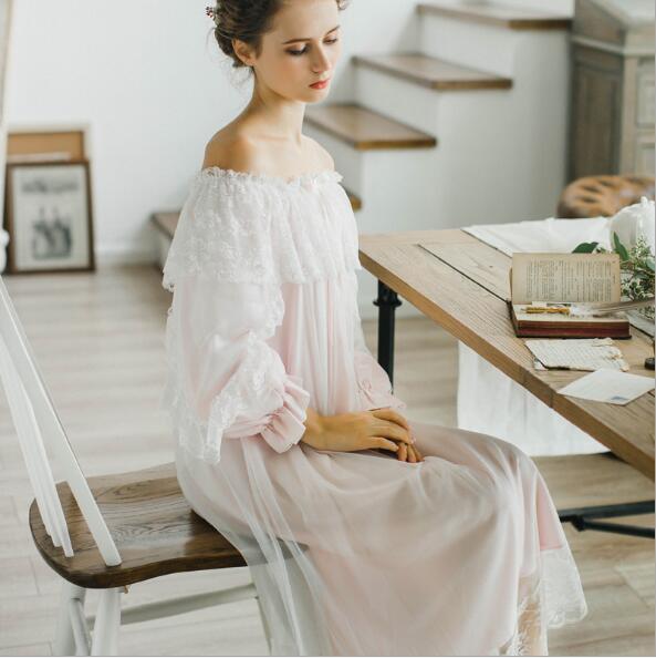 7ee8c3cf56 100% cotton Pure Royal Pure white Nightgown Princess Long Sleeve Nightdress  Ladies Sleepwear White Women s Nightwear B4077