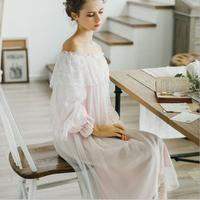 100% cotton Pure Royal Pure white Nightgown Princess Long Sleeve Nightdress Ladies Sleepwear White Women's Nightwear B4077