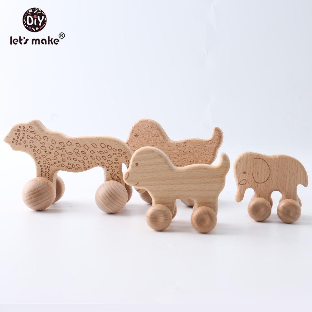 Let's Make Baby Teether Beads Wooden Blanks 1pc Cartoon Car Rattle Dog Animal Ring PVC Free Montessori Teething Wooden Rattle