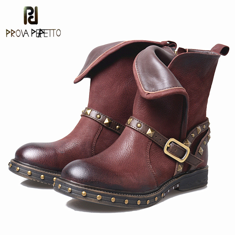 Prova Perfetto Large Size Real Leather Buckle Woman Martin Boot Fashion Wine Red Rivet Round Toe Zipper Low Heel Short Boots prova perfetto red color punk style genuine leather thick bottom woman mid boots solid round toe low heel rivet martin boots