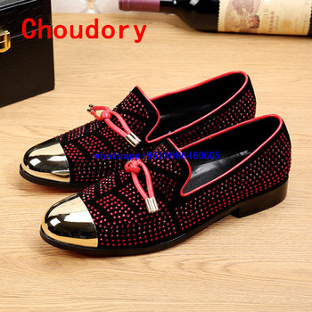 Choudory Zapatos hombre rhinestone gold toe dress shoes men flats red slip on loafers mens shoes genuine leather prom shoes