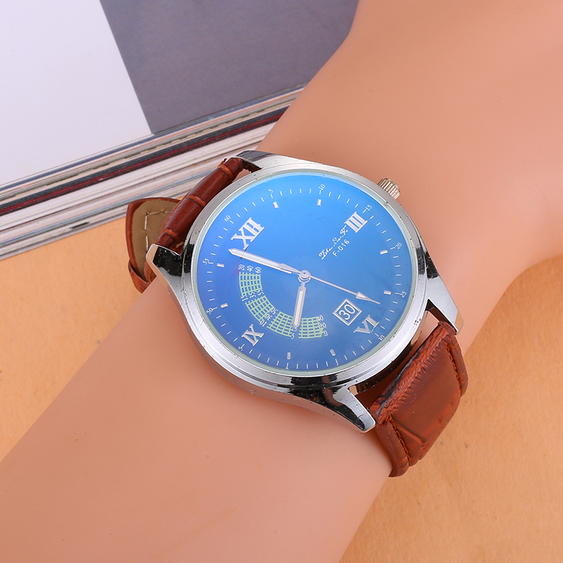 Luxury Brand Men Watch Leather Strap Analog Roman Numerals Dial Business Quartz Wrist Watches For Men Clock Stainless Steel Dial