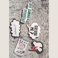 1 PC Decorative Acrylic Badges Kawaii Decoration Letters Harajuku Pin Badges Backpack Brooches Pins Badge