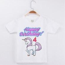 New Child Shirt Girls Cartoon Unicorn Print birthday T-Shirts Fashion Cotton White T Girl Short Sleeve Tees Party Tshirt