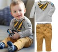 2015 Hot Sale Spring Kids Clothes Set , Boys Long Sleeve T-shirt + Pants Suit Casual Boys Clothing Set