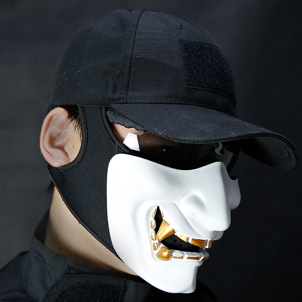 Humilde Máscara De Media Cara Airsoft Disfraz De Halloween Cosplay Monstruo Kabuki Samurái Hannya Oni Medio Prajna Máscaras Productos De Alta Calidad