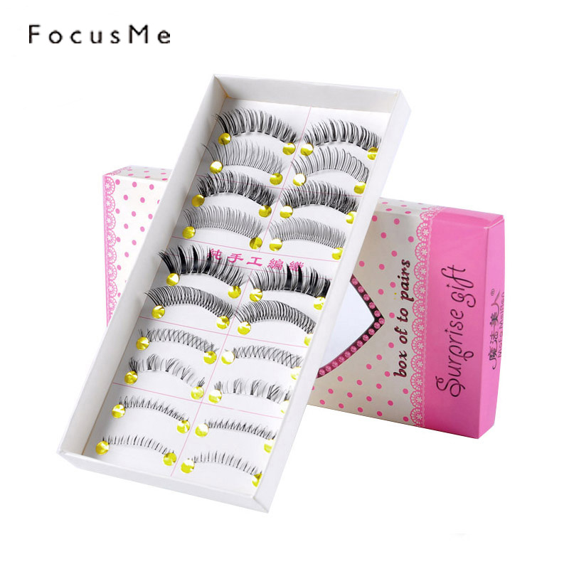 10 Pairs Mixed Style False Eyelashes Hand Made Natural Extension Eyelash For Eyes Lashes ...