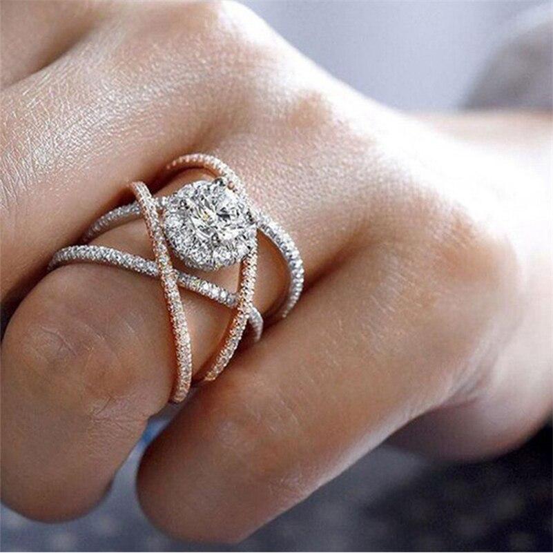 Creative Cross Zircon 14K Rose Gold Diamond Ring for Women Bague Bizuteria Anillos Female Gemstone gold peridot Jewelry