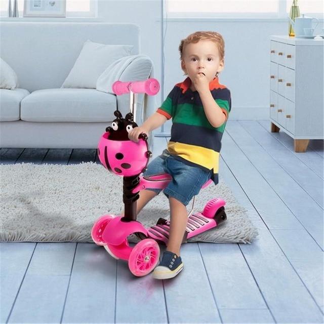 ANCHEER 3-скутер с рулевой отдачей скутеры Детские регулируемая высота детей скутер велосипед с светодиодный свет колеса Детский скейтборд