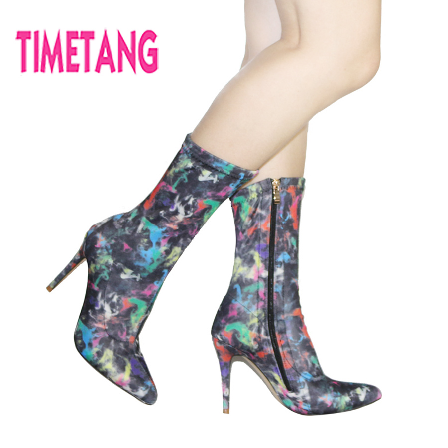 New Arrival 2017 Plus Size US12 Unique Flower Print Fashion Pointed Toe High Thin Heel Women Ankle Boot Autumn/Sping/Winter boot
