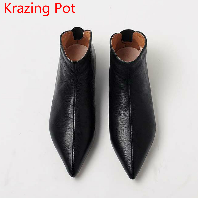 2019 New Arrival Genuine Leather Keep Warm Winter Shoes Modern Girl Pointed Toe Slip on Casual