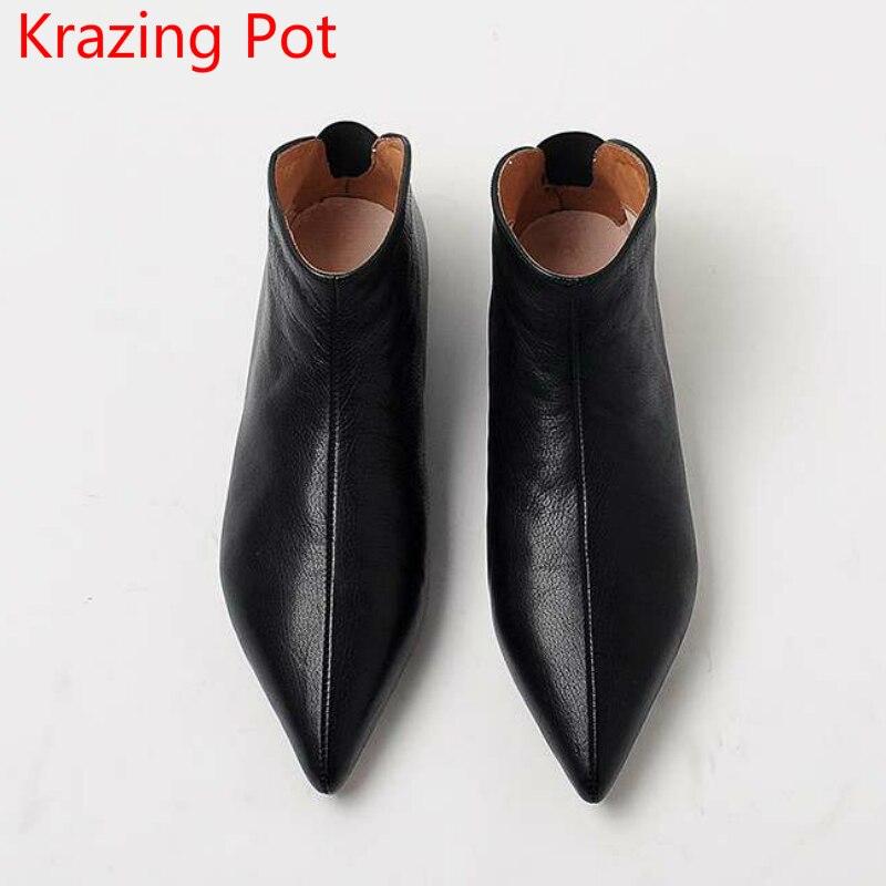 2018 Новое поступление из натуральной кожи сохраняющие тепло сапоги современной девушки острый носок без шнуровки повседневные туфли на пло...