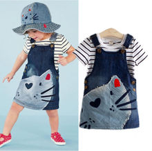 Hot Sale 2PCS Baby Kids Girls Striped Top T-shirt +Cat Denim Jeans Overalls Dress Skirt Sets 2-7Y