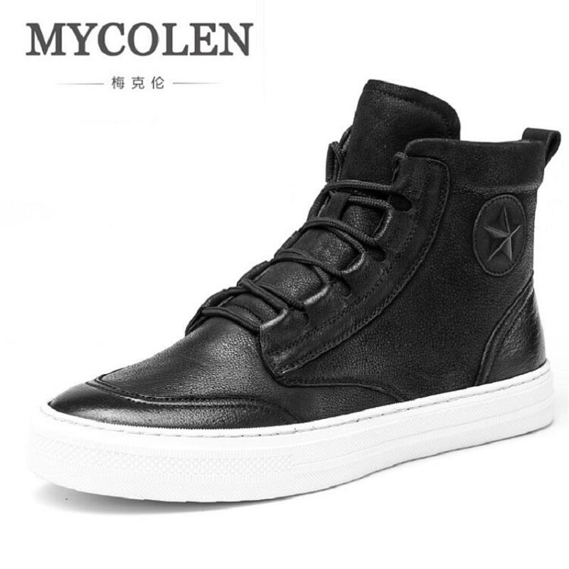 MYCOLEN New Autumn Winter Men Black Casual Shoes Men High Tops Fashion Hip Hop Shoes Zapatos De Hombre Leisure Male Botas casual dancing sneakers hip hop shoes high top casual shoes men patent leather flat shoes zapatillas deportivas hombre 61